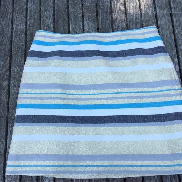 Ann Taylor Loft  Gold Lurex Stripe Mini Skirt